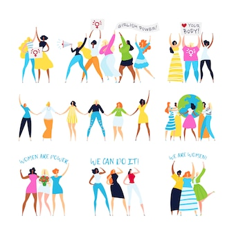 Feminism and feminist characters illustration set, woman empowerment, sisterhood, feminine ideas