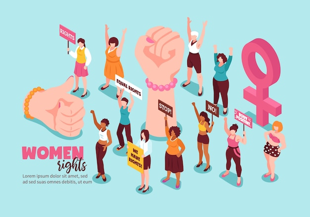 Feminism gestures and activists for women rights with placards