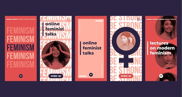 Feminism instagram stories template with photo
