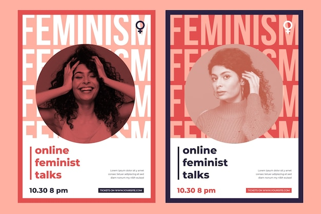 Шаблон плаката феминизма с фото