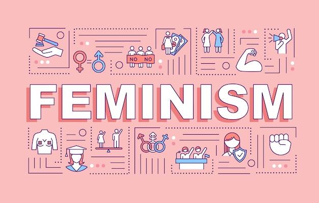 フェミニズムの言葉の概念のバナー。フェミニスト運動。女性の権利の保護。アクティビズム。ピンクの背景に線形アイコンとインフォグラフィック。孤立したタイポグラフィ。ベクトルアウトラインrgbカラーイラスト