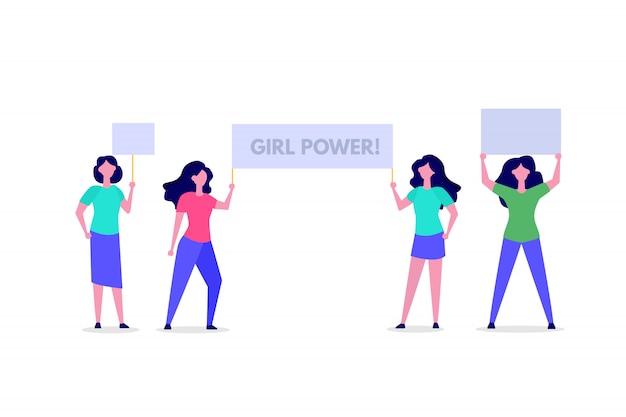 フェミニストの活動家または抗議者がガールパワーのレタリングとバナーを保持しています。