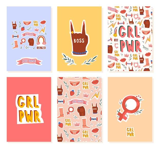 Феминистская женская поздравительная открытка с надписью girl power в трендовом рисованном стиле