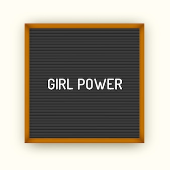 흰색 플라스틱 문자로 사각 블랙 레터 보드에 페미니즘 따옴표. 여성스러운 빈티지 영감 포스터 80x, 90x. 소녀 파워