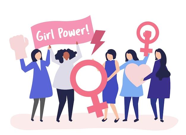 平等な集会で男女平等を支えるフェミニスト