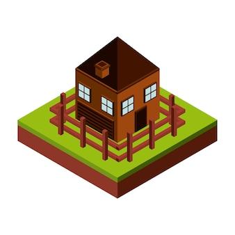 フェンスと家のアイコン