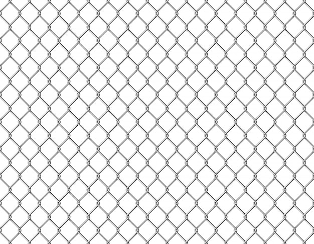 Fence chain seamless. metallic wire link mesh seamless pattern prison barrier secured property barbed wall steels realistic