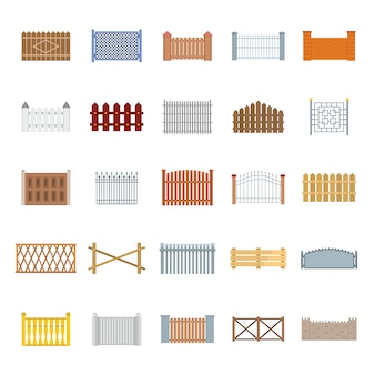 Fence country types icons set