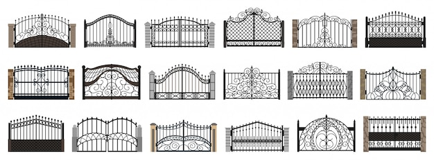 Fence gate isolated cartoon set icon.   cartoon set icon metal entrance.