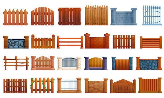 Fence icon set, cartoon style