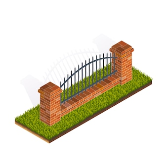 Fence isometric illustration