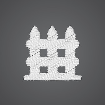 暗い背景で隔離のフェンススケッチロゴ落書きアイコン