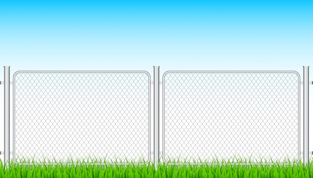 Fence wire metal chain link. prison barrier, secured property. stock illustration.