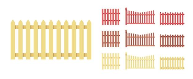 柵の木のセット、家および土地の保護要素