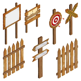 Fence, wooden signboards, arrow sign, target dart.