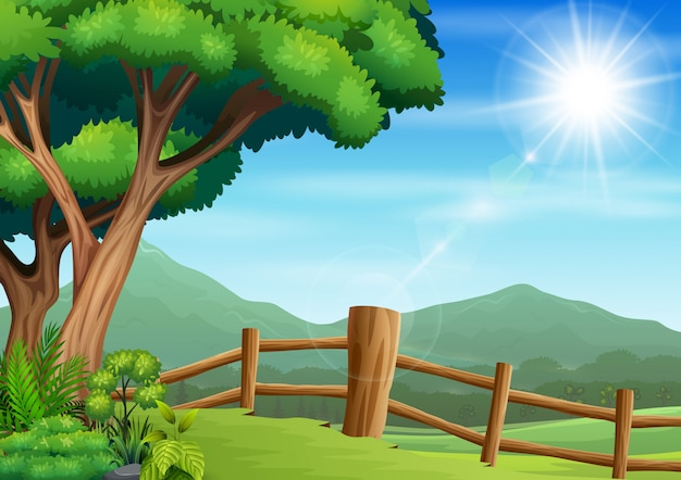 Fence yard scene with nature background