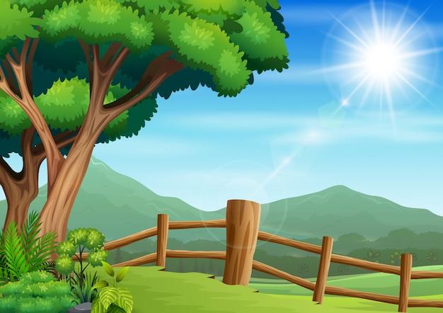 Ограждение двор с фоном природы
