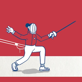 Fencer practicing fencing character vector