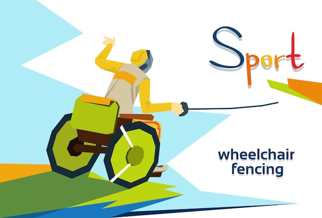 Fencer on wheel chair disabled athlete