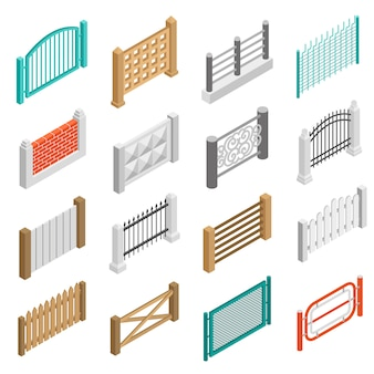 Fences types elements icons isometric collection