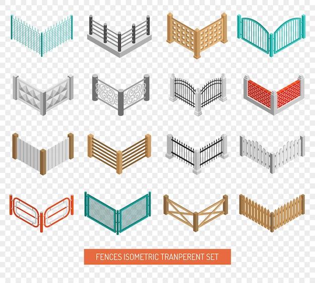 Fences types icons isometric transparent set