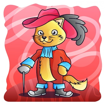 Fencing cat matador gradient illustration vector