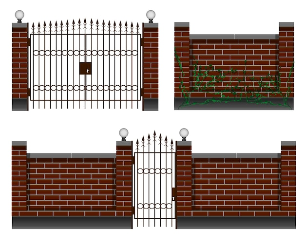 펜싱, 벽돌 울타리가있는 입구, 연철 게이트 및 게이트. 마당과 별장 개인 주택을 위해.