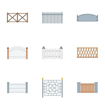 Fencing icons set. flat set of 9 fencing icons