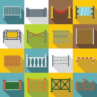 Fencing icons set, flat style