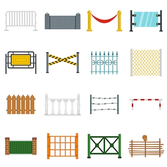 Fencing icons set in flat style
