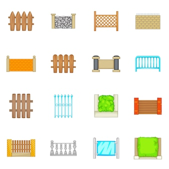 Fencing modules icons set