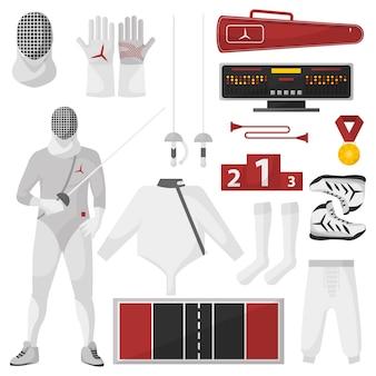 Фехтование спортивное оборудование векторный набор.