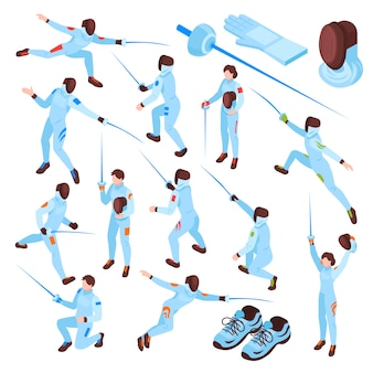 Fencing sport isometric set