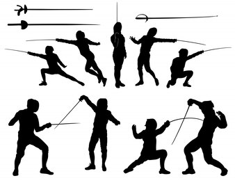 Fencing sport move action silhouette set