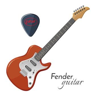 音楽で最も象徴的なフェンダーギターエレキ楽器。白い背景で隔離の音楽デバイスの。リアルなデザインのアコースティックギター