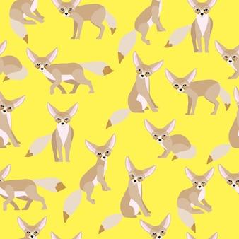 Fennec fox seamless pattern