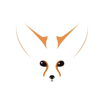Fennec muzzle, eyes and ears. contour vector illustration.