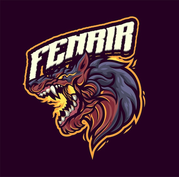 Шаблон логотипа талисмана фенрира