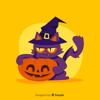 Feral witch cat holding a carved pumpkin