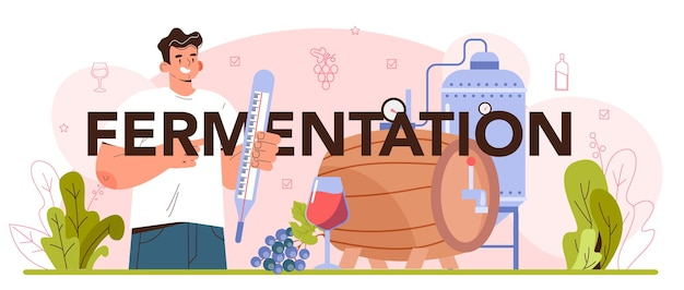 Fermentation typographic header wine production with wild and cultured