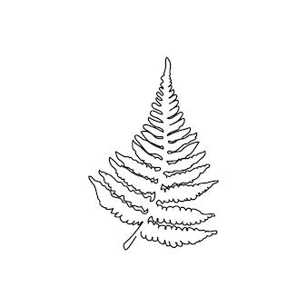シダの枝の連続線画葉ハーブジャングル植物の1つの線画