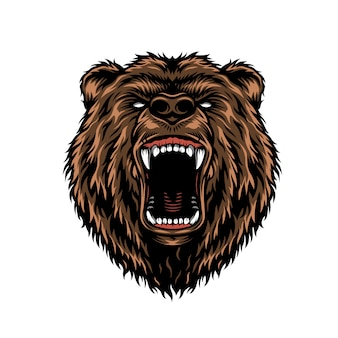 Ferocious aggressive bear head colorful concept