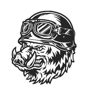 Ferocious biker wild boar head in monochrome vintage style isolated illustration