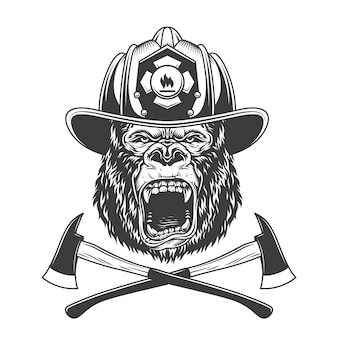 Ferocious gorilla head in firefighter helmet