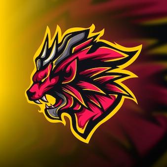 Ferocious red lion gaming mascot logo