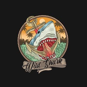 Свирепая акула на пляже с якорями
