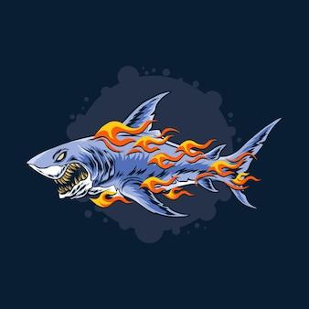 猛烈なサメが燃える炎で攻撃する