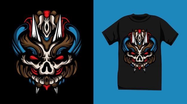 Дизайн футболки с изображением свирепого черепа-монстра