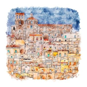Феррандина италия акварельный эскиз рисованной иллюстрации