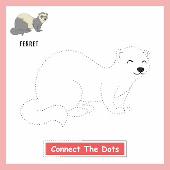 Ferret animals drawing kids connect the dots weasel
